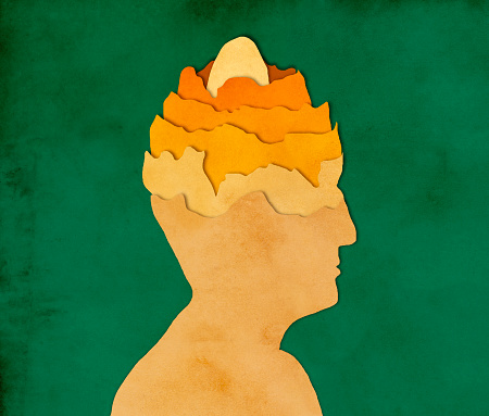 istock Egg in man's head, paper cutting style 825661324