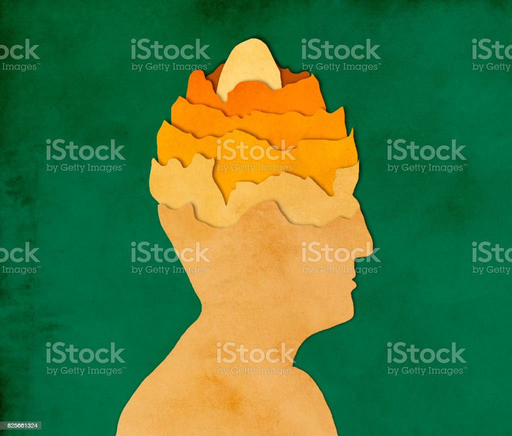 Egg in man's head, paper cutting style stock photo