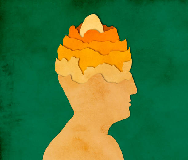 Egg in man's head, paper cutting style - foto stock
