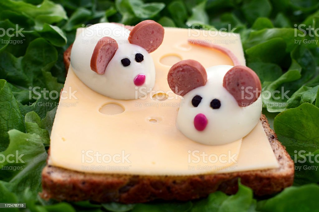 Egg mice on bread royalty-free stock photo
