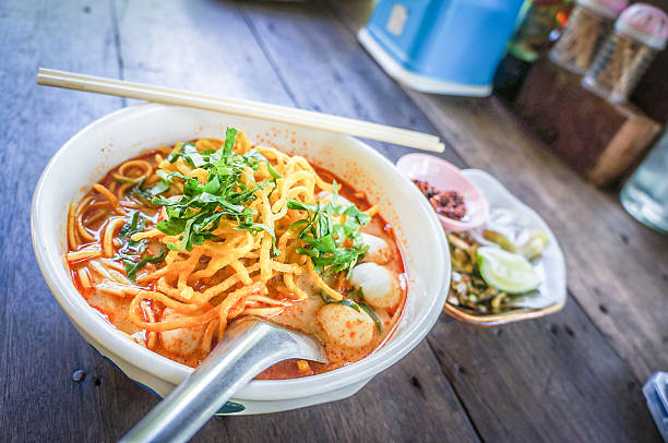 Egg Noodle in Chicken Curry stock photo
