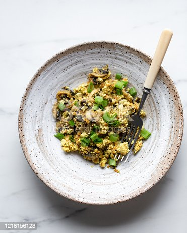 Egg Omelet with Mushrooms, tofu and green onion
