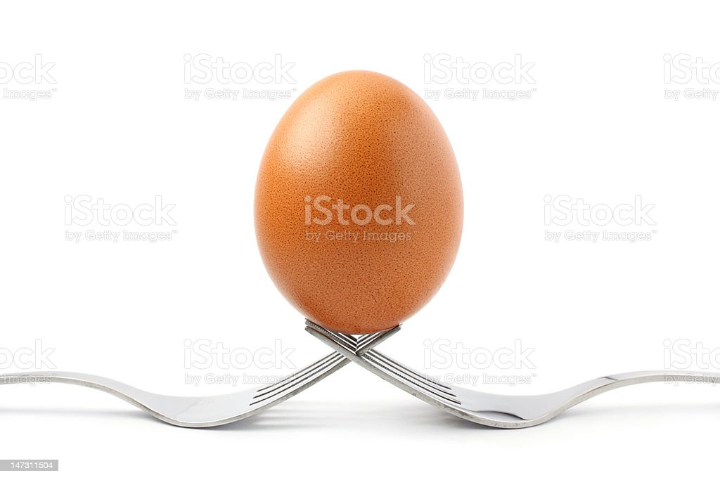 Egg On Fork royalty-free stock photo