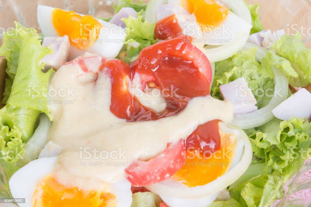 egg salad in bowl on food table stock photo
