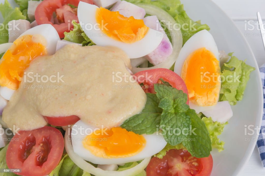 egg salad in plate on food table stock photo