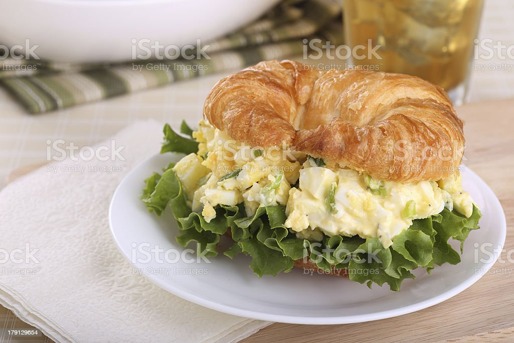 Egg Salad on Croissant Roll royalty-free stock photo