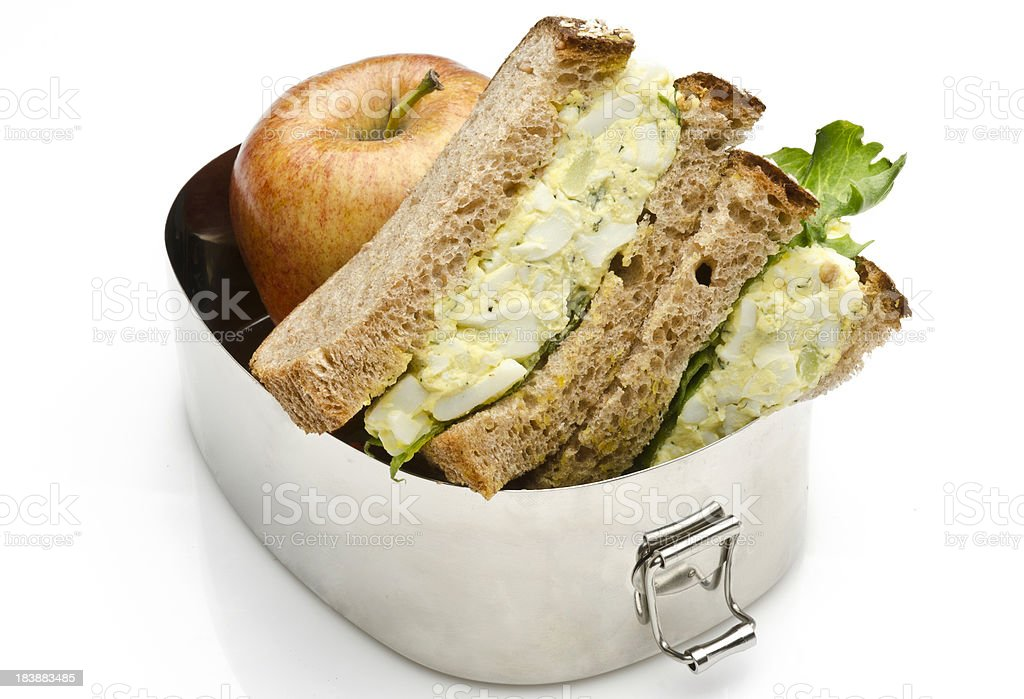 Egg Salad sandwich for lunch in a steel lunchbox. royalty-free stock photo