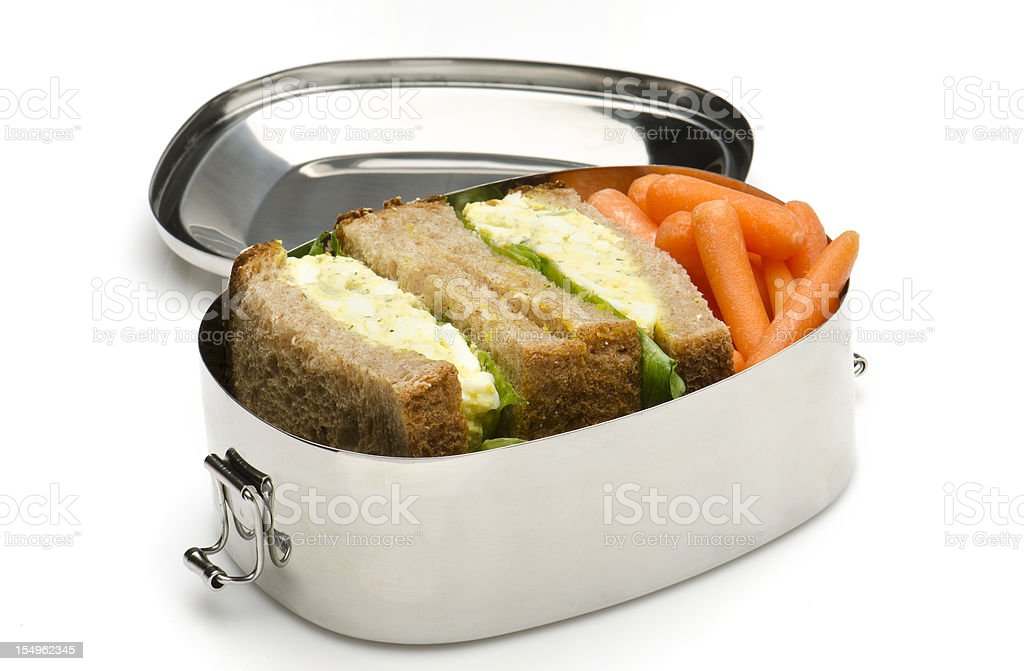 Egg salad sandwich lunch box royalty-free stock photo