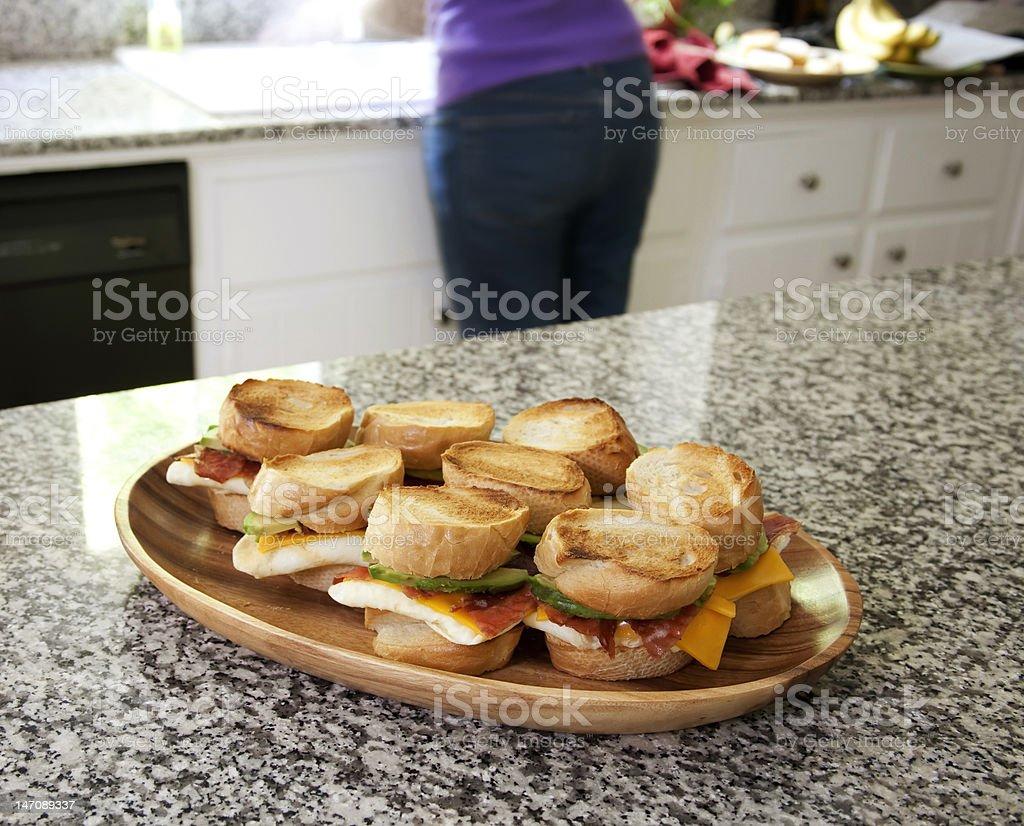 Egg Sandwiches on Display stock photo