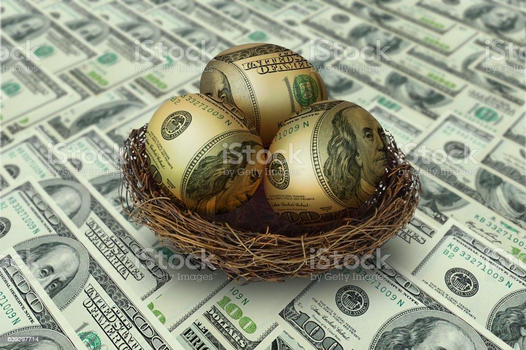 egg shaped money in nest on dollar background stock photo