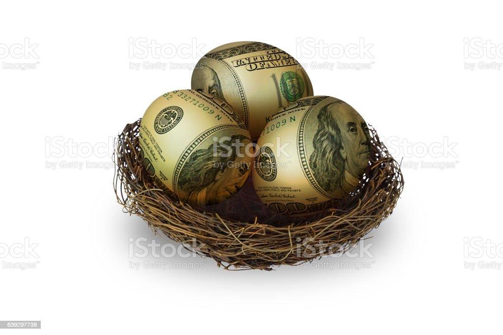 egg shaped money in nest on white background stock photo