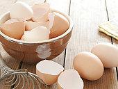 Egg shells in ceramic bowl