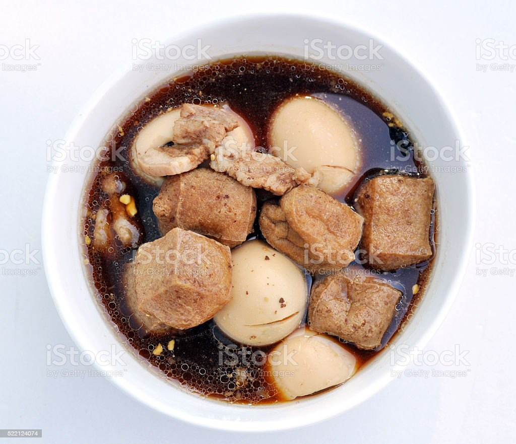 egg stewed with meat and tofu in soy sauce 13 stock photo