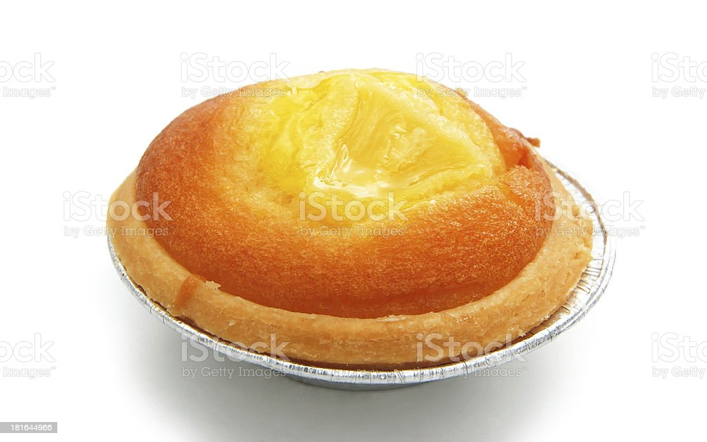 egg tart on white with clipping path royalty-free stock photo