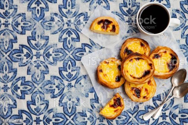 Egg tart traditional portuguese dessert pastel de nata blue top view picture id1173504318?b=1&k=6&m=1173504318&s=612x612&h=pm6tn4qq 3dbwiakwx9vn7b zgyk63poaaaca vvecm=