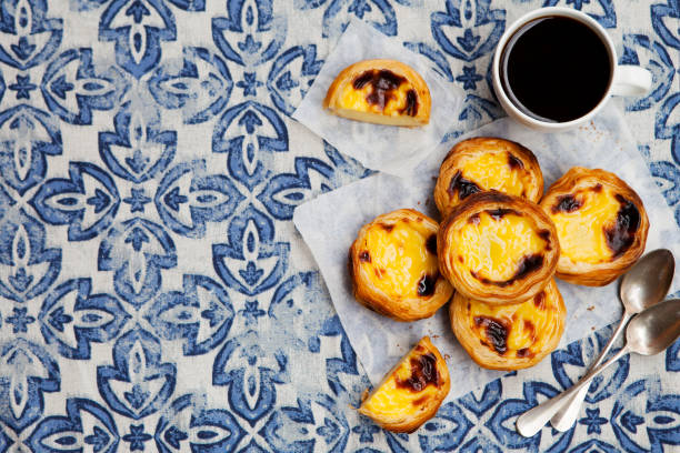Egg tart, traditional Portuguese dessert, pastel de nata. Blue background. Top view. Copy space. stock photo
