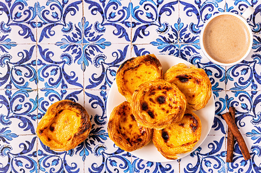 Egg tart, traditional Portuguese dessert, pastel de nata