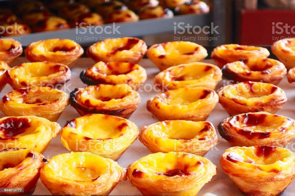 Egg tart, traditional Portuguese dessert, pastel de nata stock photo