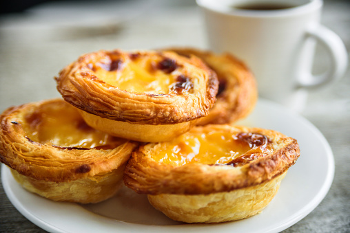 Egg tarts serving on plate