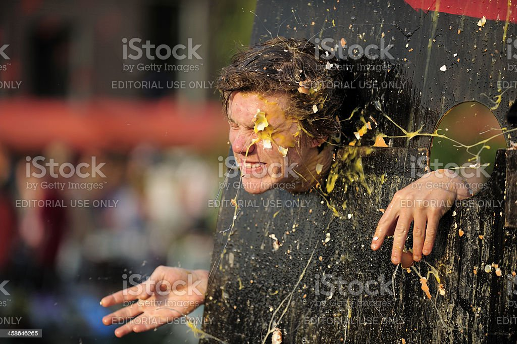 Egg throwing during Queen's day in Utrecht the Netherlands stock photo
