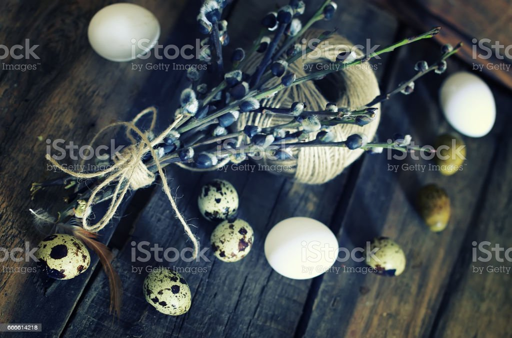 egg twig willow wood background stock photo