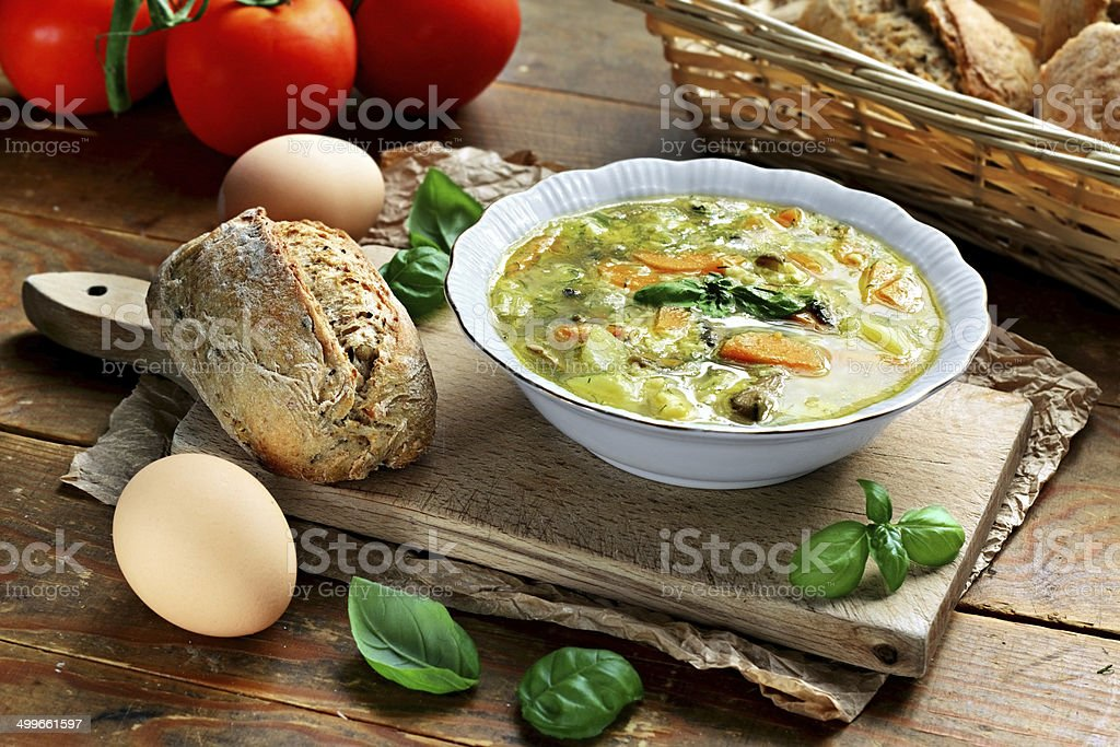 Egg vegetable soup stock photo