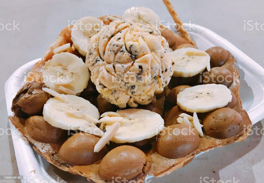 Egg waffle served with chocolate chip ice cream. – zdjęcie
