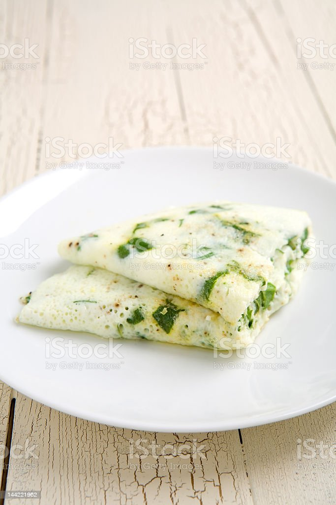 Egg white and spinach omelet stock photo