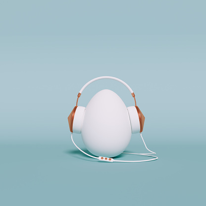 Egg with headphones music listening. Funny Easter holiday Minimal concept. 3d rendering