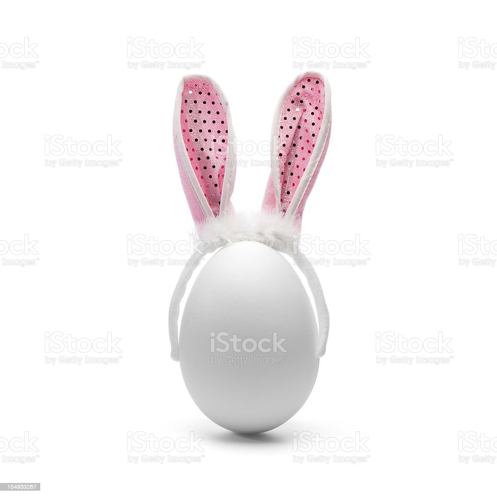Egg with rabbit ears - Easter Humor stock photo