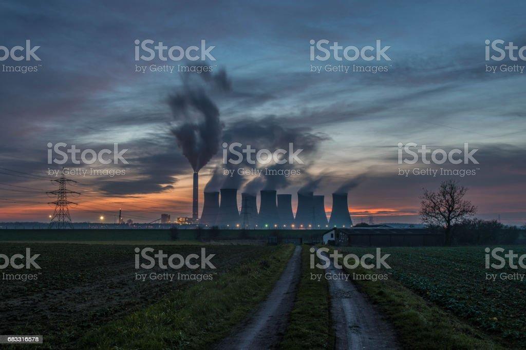 Eggborough Sunset royaltyfri bildbanksbilder