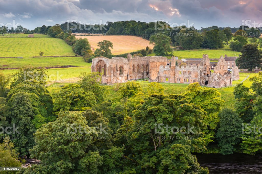 Egglestone Abbey on riverbank of River Tees stock photo