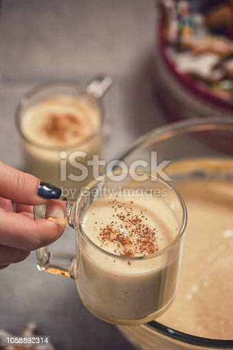 Young women holding freshly made eggnog with cinnamon at Christmas time