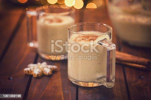 Homemade eggnog with cinnamon for Christmas