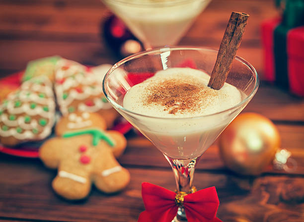 Eggnog at Christmas Time stock photo