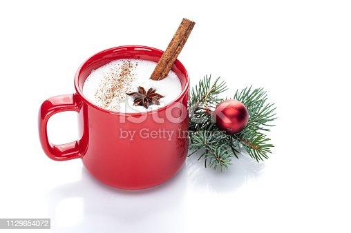 istock eggnog cocktail in red mug arranged with christmas decoration 1129654072