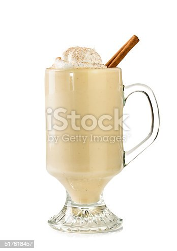 Eggnog on white background with clipping path.  Please see my portfolio for other food and drink images.