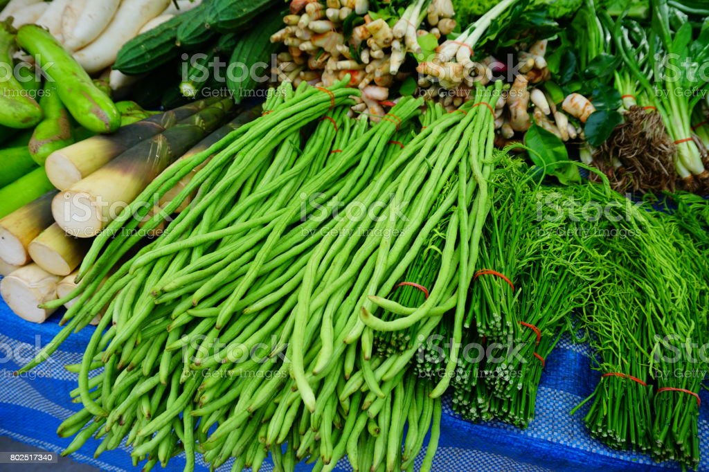 Eggplant and Longbeans stock photo