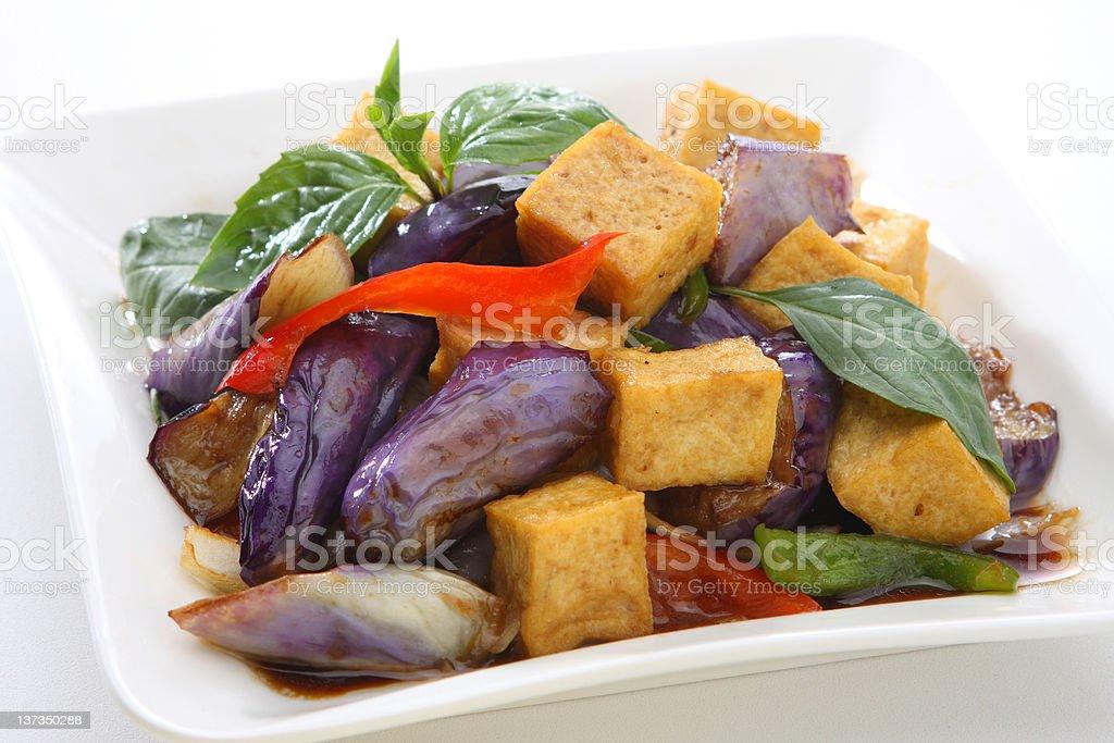Eggplant Basil With Fried Tofu royalty-free stock photo