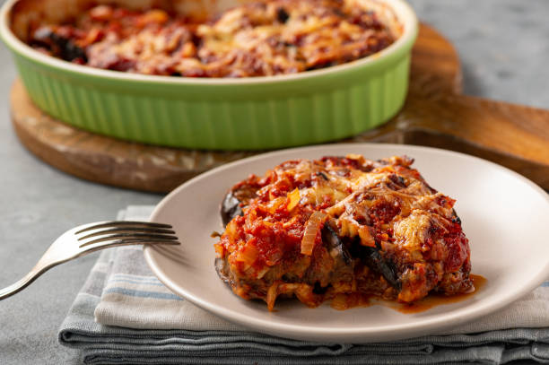 Eggplant casserole with tomato sauce and cheese, mediterranean cuisine. stock photo