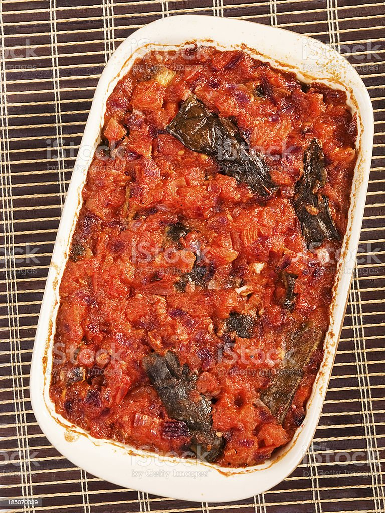Eggplant casserole with tomatos royalty-free stock photo