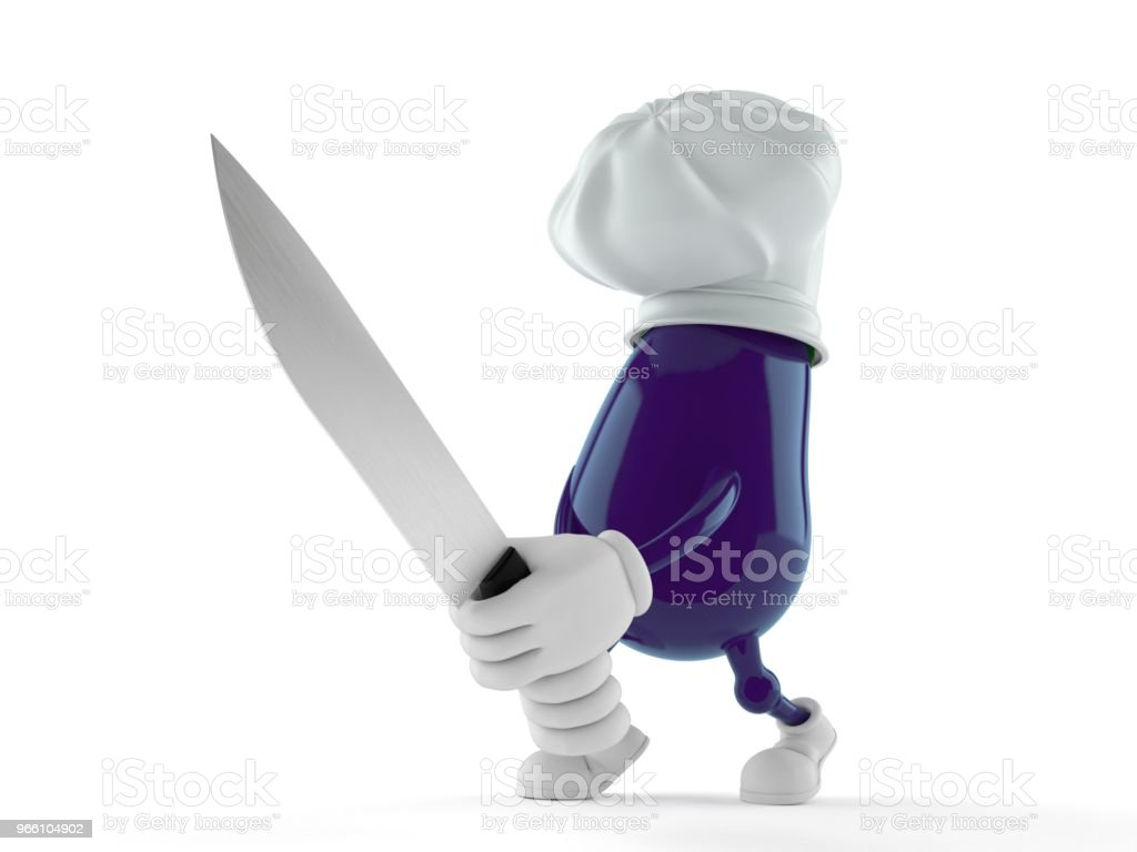 Eggplant character holding kitchen knife - Royalty-free Cartoon Stock Photo
