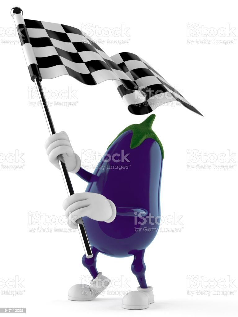Eggplant character waving race flag stock photo