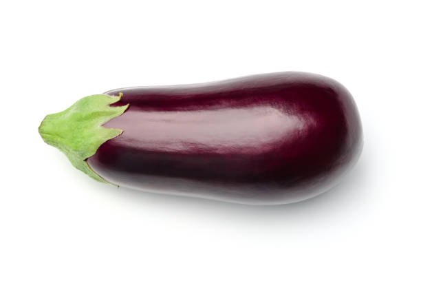 Eggplant isolated on white background. Top view stock photo