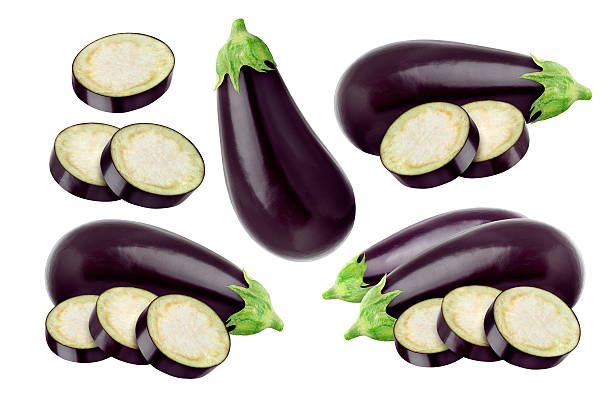 Eggplant isolated on white background, with clipping path stock photo