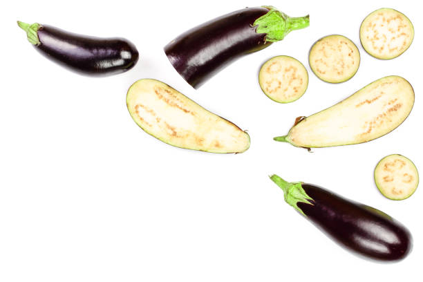 eggplant or aubergine isolated on white background with copy space for your text. top view. flat lay pattern - melanzane foto e immagini stock