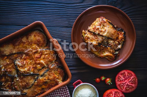 Eggplant parmesan vegan recipe also Aubergine Parmigiana italian vegetarian recipe with parmesan cheese and ingredients