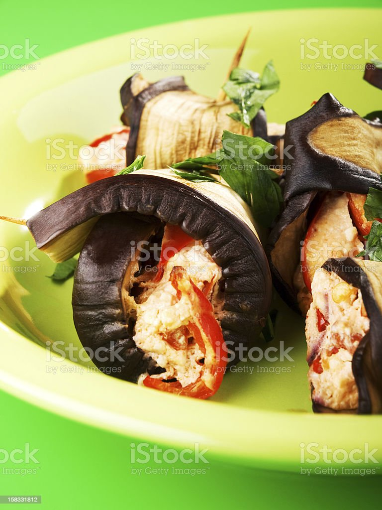 Eggplant rolls filled with cheese royalty-free stock photo