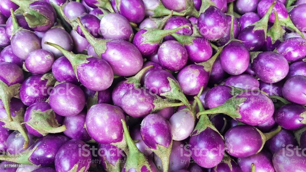 Eggplant sale in the market stock photo