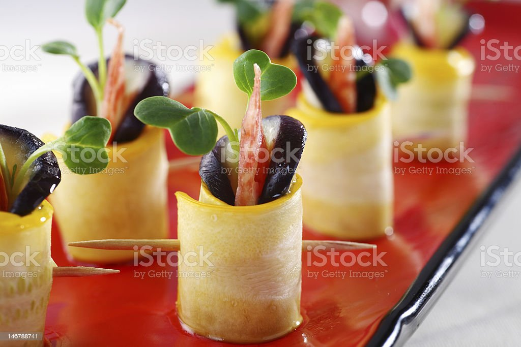Eggplant sausage roll royalty-free stock photo